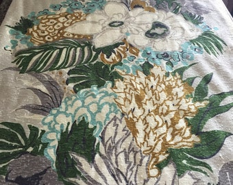 """40s  A Co Fab Co Vat Print """"SAN JUAN""""//Luscious  Import//Pongee Floral//Turq/White/Amber Flowers//Charcoal Green Leaves on Silver Ground"""