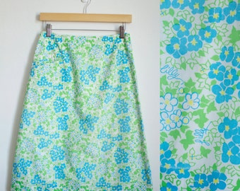 Vintage 1970s Lilly Pulitzer Green Floral Skirt