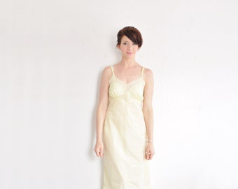 pale yellow 1940 full slip . delicate pastel lingerie dress .small .sale