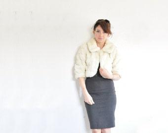 blonde faux fur cropped shrug coat . mod winter wonderland jacket .small.medium