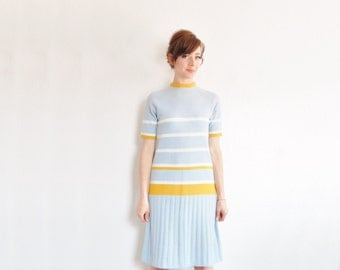 preppy mod striped scooter dress . light blue mustard yellow rugby frock .small.medium