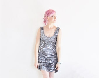 gunmetal metallic paillette dress . dark silver purple sequin party dress .small.medium .sale