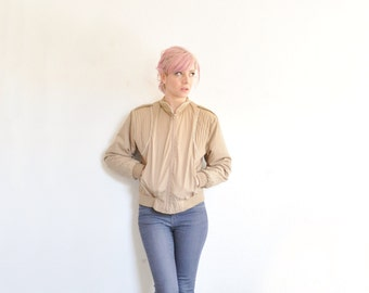 taupe 1980 Skyline cotton jacket . zip out lining . for cool and cold weather .small .sale