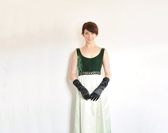 two tone green velvet gown . 1960 formal maxi dress . rhinestones gems and everything .extra small.xs .sale