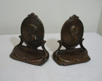 Vintage Iron with Bronze Gilt Cameo Girl Bookends