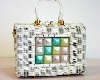 Vintage 1960s White Wicker And Pastel Lucite Handbag by Stylecraft Miami