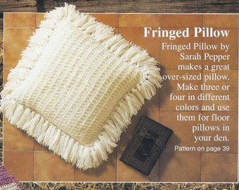 1980s Fringed Pillow Vintage Crochet Pattern