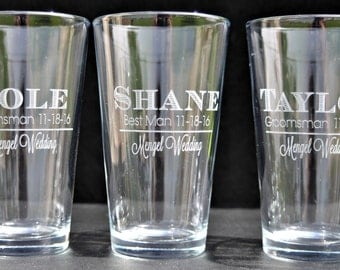 Personalized Pint Glasses for the Wedding Party, Groomsman, FOB, Groom, Best Man  by Jackglass on Etsy