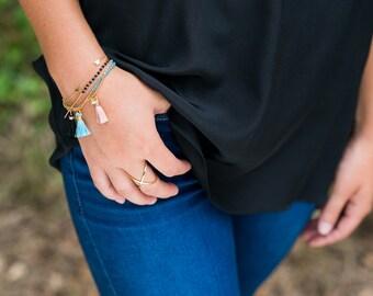 SALE! Hamsa Tassel Bracelet | Turquoise Beaded Hamsa Tassel Bracelet | Turquoise, Rose Quartz or Black Onyx Bracelet