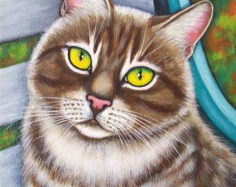Soulful Eyed Tabby Cat on Garden Bench Giclee Print of my Original Art Painting
