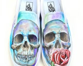 Custom Vans Shoes- Hand Painted Skull and Rose Shoes