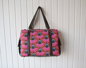 SAMPLE BAG - Zippered Shoulder Bag in Fuchsia Coneflowers with brown faux leather