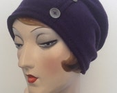 Boiled Merino wool hat, slouch beanie with buttons, purple, OOAK, Free shipping in the US.