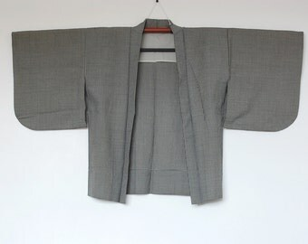 Japanese Kimono Cardigan With Black White Houndstooth Pattern  二