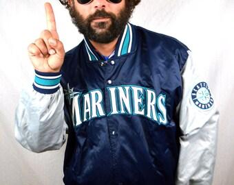 Vintage 80s MLB Seattle Mariners Satin Starter Diamond Collection Jacket