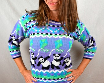 RAD Vintage 80s Panda Bear Purple Sweater - XS