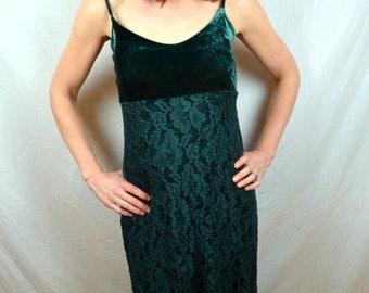 Vintage 1980s Betsey Johnson Green Velvet Lace  Dress - Jessica Rabbit