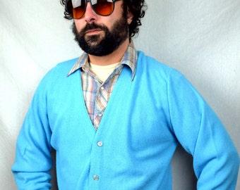 Jc Penney Vintage Fox Grandpa Light Blue Cardigan Sweater