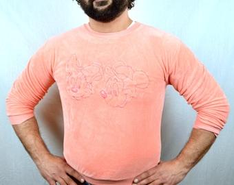 Amazing Vintage 1980s 80s Mickey Minnie Velour Sweatshirt
