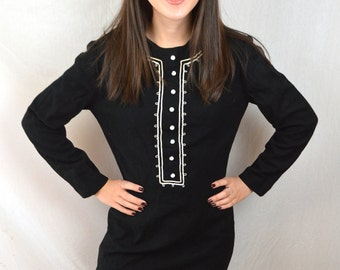 Vintage 50s 1960s Wool Black White Proper Dress - Helen Whiting