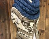 Chunky Cowl Scarf Shawl Hood Crochet Neckwarmer - KEMANO - OCEAN
