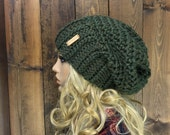 Crochet Ribbed Brim Slouchy Slouch Crochet Beanie Hipster Hat - ||DEEP WOODS|| - MOSS