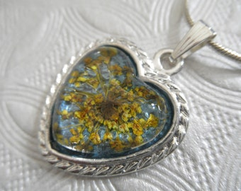 Yellow Queen Anne's Lace Atop Dusty Blue Background Heart Pressed Flower Pendant-Gifts Under 30-Nature's Art-Symbolizes Peace