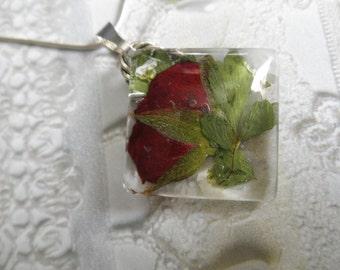 Red Rose,White Alyssum,Maidenhair Ferns Glass Diamond Shape Pressed Flower Pendant-Nature's Wearable Art-Symbolizes True Love-Gifts Under 30