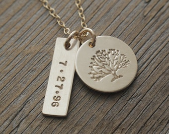 gold filled family tree date necklace, personalized jewelry, custom anniversary necklace, trendy gold minimalist, gift for her, hand stamped