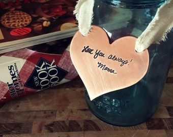 Engraved handwriting ornament-wall hanging-heart with handwriting-memorial-remembrance-nickel-brass-copper-signature ornament-tyijewelry
