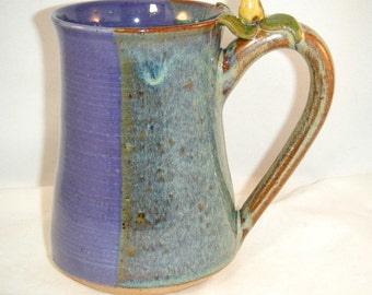 Bird Mug with Gold Finch in Purple and Brown