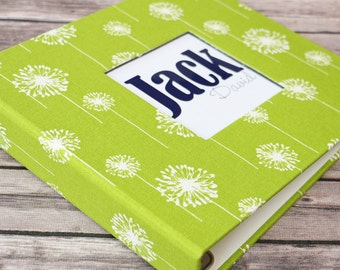 Baby Book, Baby Gift, Baby Album, Baby Memory Book, Baby Keepsake, Modern Baby Book, Green Dandelion Album