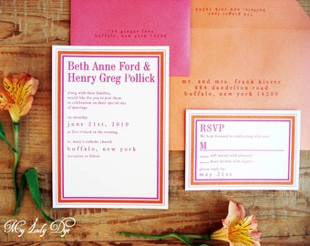 100 Simple Modern Classic Wedding Invitations Orange and Fuchsia - The Beth Collection - By My Lady Dye