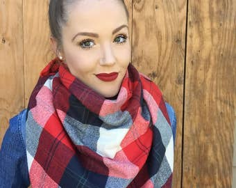 Oversized Blanket Scarf in Red, Navy Blue, Winter White Ivory Cream Large Wrap Tartan Accessory Shawl Fashion Hood Hair Cover Americana USA