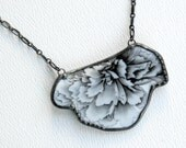 Broken China Necklace Black & White Vintage Floral China Handmade Pendant Recycled Dish Antique Silver Solder Jewelry by Modern Garden