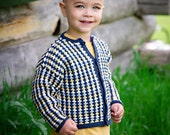 Baby Sweater Boys -- Blue and Yellow Boys Cardigan -- ORDWAY STREET -- Hand Knit Sweater -- Children's Clothing -- Knit Jacket -- Baby Gift