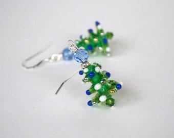 Christmas Tree Earrings, Green Lampwork Glass Bead Earrings, Festive Holiday Jewelry, Blue Christmas Lights
