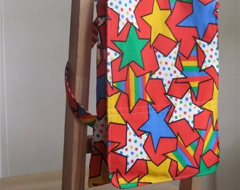 Rock Star Retro Upcycled Girl / Boy Backpack -  Bright Colorful Stars and Stripes / Travel / School - Eco Friendly Kid - Under 40 Eco Gift