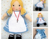 Alice in Wonderland doll knitting pattern - INSTANT DOWNLOAD