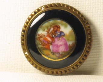 Vintage Limoges Porcelain Fragonard Courting Couple Brooch Pin (B-3-5)