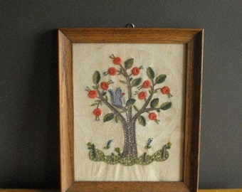 Squirrely Tree - Vintage Crewel Squirrel in Tree - Stitched Art for Your Wall