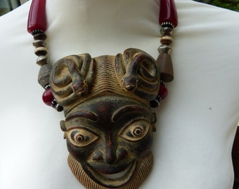 African BAMILEKE Passport Mask, Cameroon - Cherry Colored Horn Beads - Mali Spindle Whorl Necklace -  OOAK