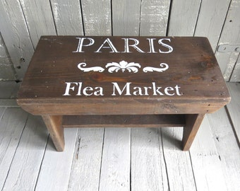 Old Stool, Amish Milking Stool, Vintage Stool, Brown Wooden Stool, Paris Flea Market, French Country, Rustic Farmhouse, Shabby and Chic