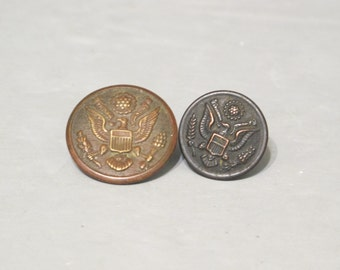 Antique 2 US Army Uniform Buttons / Great Seal Military Buttons, Art Metal Works Coat Bronze Button, D. Evans & Co. Jacket Copper Button