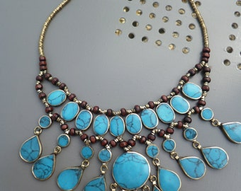 Pretty  Afghan Silver Tribal Necklace. Turquoise. Hand made.