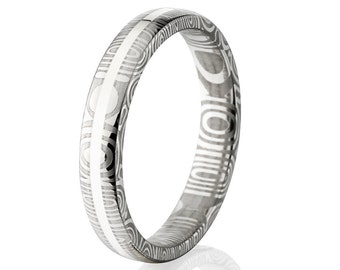 Damascus Steel and Sterling Silver 4mm Ring- DS-4HR1G-SS