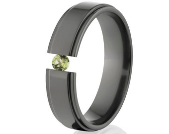 Tension Set Ring, Uniquely You, Black Zirconium, Peridot -  BZ-6RC-P-Tension