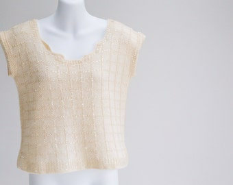 Cream Sequined Knit Shell w. Deco Neckline- Sz S - M