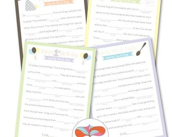 Baby Shower Mad Libs - Set of 4 Unique Stories with key for back