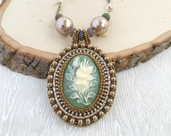 Botanical Cameo Bead Embroidery Necklace-Beadwork. Flowers. Cameo. Champagne. Vintage-inspired. OOAK. Garden. Pendant. Statement Necklace